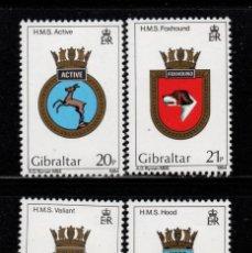 Sellos: GIBRALTAR 473/76** - AÑO 1983 - ESCUDOS DE BARCOS DE LA ROYAL NAVY. Lote 243889785