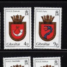 Sellos: GIBRALTAR 501/04** - AÑO 1985 - ESCUDOS DE BARCOS DE LA ROYAL NAVY. Lote 243890060