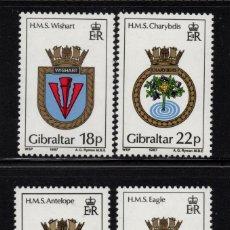 Sellos: GIBRALTAR 532/35** - AÑO 1987 - ESCUDOS DE BARCOS DE LA ROYAL NAVY. Lote 243891035