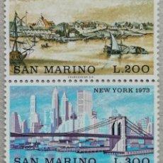 Sellos: 1973. SAN MARINO. 831 / 832. NY, PASADO Y ACTUALIDAD. SELLOS EN PAREJA. SERIE COMPLETA. NUEVO.. Lote 244530995