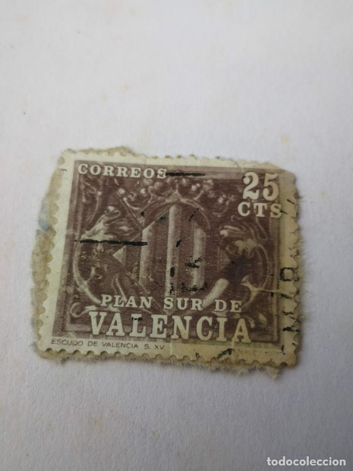 SELLO ESPAÑA PLAN SUR VALENCIA 25CTS ESCUDO DE VALENCIA S XV (Sellos - Extranjero - Europa - Otros paises)