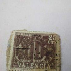Sellos: SELLO ESPAÑA PLAN SUR VALENCIA 25CTS ESCUDO DE VALENCIA S XV. Lote 260776170