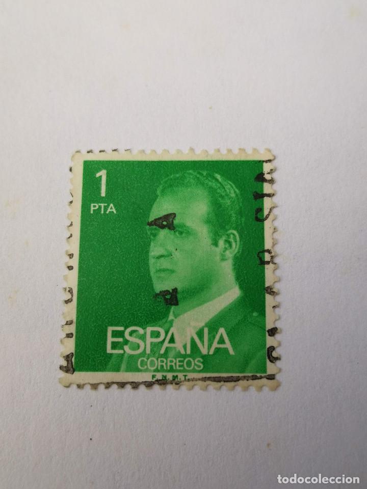 SELLO DE 1 PESETA DEL AÑO 1977 JUAN CARLOS I (Sellos - Extranjero - Europa - Otros paises)
