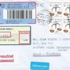 Sellos: 2001. REPÚBLICA CHECA. SOBRE CIRCULADO CERTIFICADO. BLOQUE DE 4 SELLOS YVERT 212. LIBRA. ZODIACO.. Lote 263085090