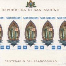 Sellos: MINIPLIEGO NUEVO DE SAN MARINO DE 1977. CENTENARIO DEL SELLO DE SAN MARINO. Lote 270392598