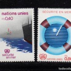 Sellos: NACIONES UNIDAS GINEBRA 112/13**- AÑO 1983 - BARCOS - SEGURIDAD MARÍTIMA. Lote 277517223