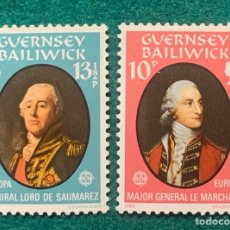 Sellos: GUERNSEY BAILIWICK. EUROPA CEPT 1980. MAJOR MARCHANT Y AMIRAL LORD DE SAUMAREZ.. Lote 286728193