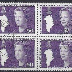 Sellos: GROENLANDIA 1981 - MARGARITA II, 50 VIOLETA EN BLOQUE DE 4 - USADOS. Lote 288384143