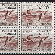 Sellos: GROENLANDIA 1982 - VIKINGOS. ERIK EL ROJO EN BLOQUE DE 4 - MNH**. Lote 288384463