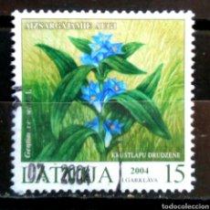 Sellos: LETONIA 2004 FLORES SELLO USADO. Lote 288414978