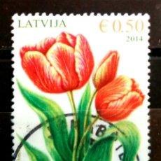 Sellos: LETONIA 2014 FLORES SELLO USADO. Lote 288414993