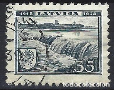 LETONIA 1938 - CASCADA, KULDIGA - USADO (Sellos - Extranjero - Europa - Otros paises)