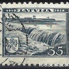 Sellos: LETONIA 1938 - CASCADA, KULDIGA - USADO. Lote 288455498