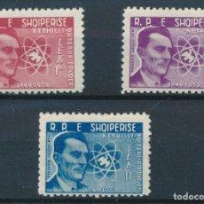 Sellos: ALBANIA 1959 IVERT 504/6 ** 10º ANIVERSARIO DEL CONSEJO MUNDIAL POR LA PAZ - FREDERIC J. CURIE. Lote 288530688