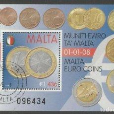 Sellos: MALTA - BLOQUE MONEDAS DE EURO DE MALTA - USADO. Lote 289832738