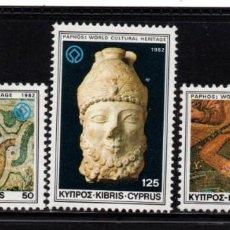Sellos: CHIPRE 563/65** - AÑO 1982 - ARQUEOLOGIA - ANTIGUEDADES DE PAPHOS. Lote 289864348