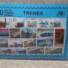 Francobolli: BLISTER SIN ABRIR, 100 SELLOS TIMBRES STAMPS TRENES, FILATELIA.. Lote 294050633