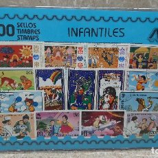 Sellos: BLISTER SIN ABRIR, 100 SELLOS TIMBRES STAMPS INFANTILES, FILATELIA.. Lote 294051093