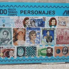 Sellos: BLISTER SIN ABRIR, 100 SELLOS TIMBRES STAMPS PERSONAJES, FILATELIA.. Lote 294051593