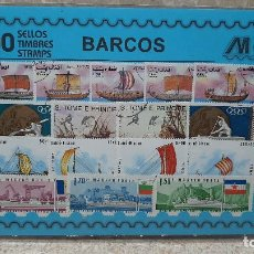 Francobolli: BLISTER SIN ABRIR, 100 SELLOS TIMBRES STAMPS BARCOS, FILATELIA.. Lote 294051763