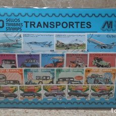 Sellos: BLISTER SIN ABRIR, 100 SELLOS TIMBRES STAMPS TRANSPORTES, FILATELIA.. Lote 294051908
