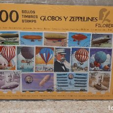 Sellos: BLISTER SIN ABRIR, 100 SELLOS TIMBRES STAMPS GLOBOS Y ZEPPELINES, FILATELIA.. Lote 294052308