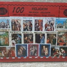 Sellos: BLISTER SIN ABRIR, 100 SELLOS TIMBRES STAMPS RELIGION, FILATELIA.. Lote 294052688