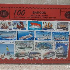 Francobolli: BLISTER SIN ABRIR, 100 SELLOS TIMBRES STAMPS BARCOS, FILATELIA.. Lote 294053138