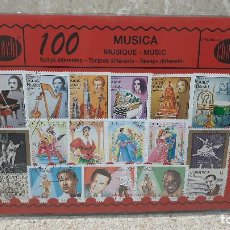 Sellos: BLISTER SIN ABRIR, 100 SELLOS TIMBRES STAMPS MUSICA, FILATELIA.. Lote 294053518