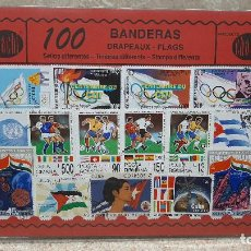 Francobolli: BLISTER SIN ABRIR, 100 SELLOS TIMBRES STAMPS BANDERAS, FILATELIA.. Lote 294054173