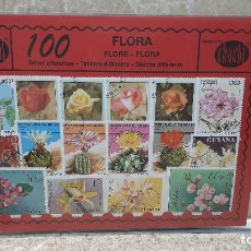 Sellos: BLISTER SIN ABRIR, 100 SELLOS TIMBRES STAMPS FLORA, FILATELIA.. Lote 294054643