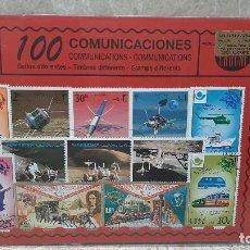 Sellos: BLISTER SIN ABRIR, 100 SELLOS TIMBRES STAMPS COMUNICACIONES, FILATELIA.. Lote 294055053