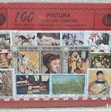 Sellos: BLISTER SIN ABRIR, 100 SELLOS TIMBRES STAMPS PINTURA, FILATELIA.. Lote 294055638