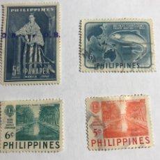 Sellos: LOTE 4 SELLOS FILIPINAS AÑOS 50/60. Lote 296914653