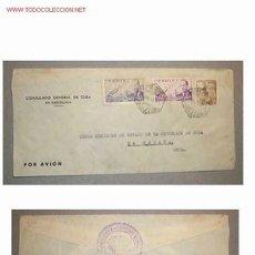 Sellos: SOBRE DIRIGIDO DESDE EL CONSULADO GENERAL DE CUBA EN BARCELONA EN 1953. Lote 13542442
