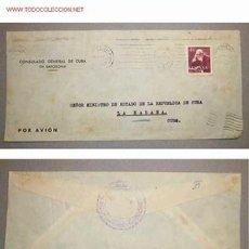 Sellos: SOBRE DIRIGIDO DESDE EL CONSULADO GENERAL DE CUBA EN BARCELONA EN 1954. Lote 12523873