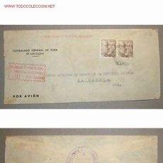 Sellos: SOBRE DIRIGIDO DESDE EL CONSULADO GENERAL DE CUBA EN BARCELONA . Lote 12523872