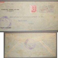 Sellos: SOBRE DIRIGIDO DESDE EL CONSULADO GENERAL DE CUBA EN BARCELONA EN 1954 . Lote 12176370