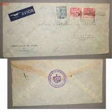 Sellos: SOBRE DIRIGIDO DESDE EL CONSULADO DE MALAGA EN 1953. Lote 12176372