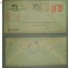 Sellos: SOBRE DIRIGIDO DESDE EL CONSULADO GENERAL DE CUBA EN BARCELONA EN 1954 . Lote 12907410