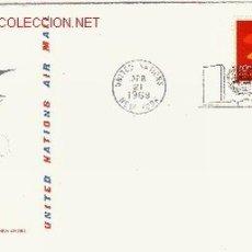 Sellos: NACIONES UNIDAS SEDE NUEVA YORK SPD AEREO 10 - AÑO 1969. Lote 653649