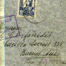 Sellos: SOBRE CON CENSURA MILITAR DE BURGOS DIRIGIDA A BUENOS AIRES. ARGENTINA. 1937.GUERRA CIVIL. . Lote 13983468