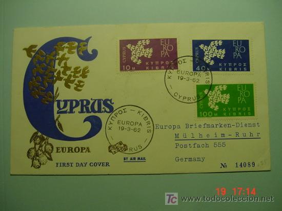 4713 CHIPRE CYPRUS TEMA EUROPA RARISIMO FDC - SPD 1962 - MIRA MAS EN COSAS&CURIOSAS (Sellos - Historia Postal - Sellos otros paises)