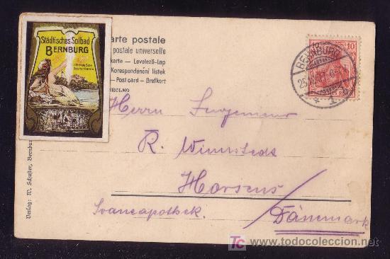 ALEMANIA.(CAT.84+VIÑETA).1907.T.P.DE BERNBURG A DINAMARCA.10P.+VIÑETA MULTICOLOR.MAGNÍFICA.MUY RARA. (Sellos - Historia Postal - Sellos otros paises)