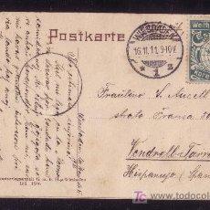 Sellos: ALEMANIA.(CAT. 84+VIÑETA).1911.T.P.DE WIESBADEN A ESPAÑA.10 P.+VIÑETA DE ESPERANTO.MAGNÍFICA Y RARA.. Lote 26768120