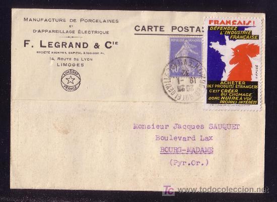 FRANCIA.(CAT.237+VIÑETA).1932.T.P. DE LIMOGES A BOURG-MADAME.40 C.+VIÑETA PUBLICITARIA.MAGNÍFICA.RR. (Sellos - Historia Postal - Sellos otros paises)