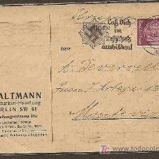 Sellos: ALEMANIA 1939 TARJETA CIRCULADA DE BERLIN A MONTEVIDEO - SVASTICA Y ESCUDO . Lote 19441287