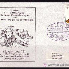 Sellos: ALEMANIA SOBRE DE LA EXPOSICION DE MINEROLOGIA Y PALENTOLOGIA DE IDAR - SONDERSCHAU - AÑO 1978. Lote 4699783