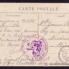 Sellos: FRANCIA. 1915. T. P. DE CHARTRETTES A MISERIEUX. MARCA DE FRANQUICIA MILITAR. MAGNÍFICA Y MUY RARA.. Lote 24840034