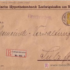 Sellos: BAVIERA (ALEMANIA). (CAT. 68). 1910. SOBRE CERTIFICADO D LUDWIGSHAFEN A SULZFELD. 40 P. MUY BONITA.. Lote 27283434